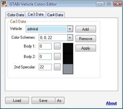 GTAIV Vehicle Colors Editor 1.0